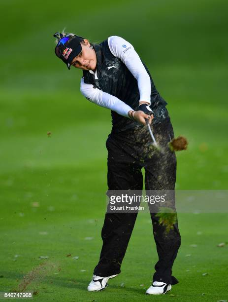 Lexi Thompson of USA plays a shot during the first round of The Evian Championship at Evian Resort Golf Club on September 14 2017 in EvianlesBains...