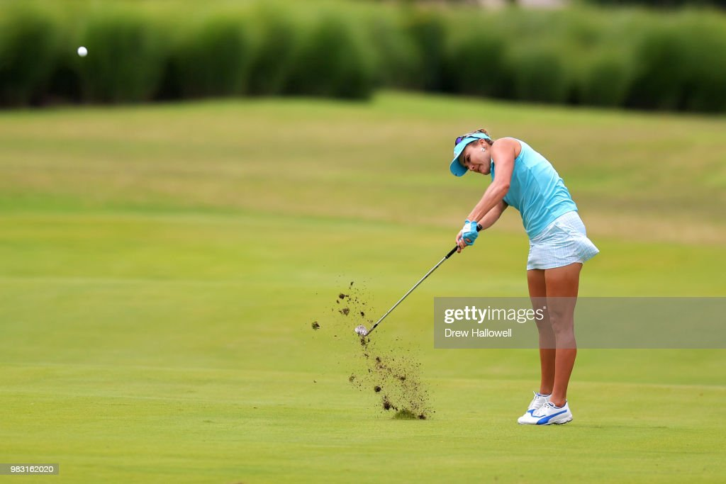 Lexi Thompson plays a shot on the 11th fairway during the final round of the Walmart NW Arkansas Championship Presented by P&G at Pinnacle Country Club on June 24, 2018 in Rogers, Arkansas.
