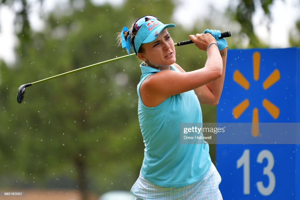 Lexi Thompson plays a shot on the 13th hole during the final round of the Walmart NW Arkansas Championship Presented by P&G at Pinnacle Country Club on June 24, 2018 in Rogers, Arkansas.
