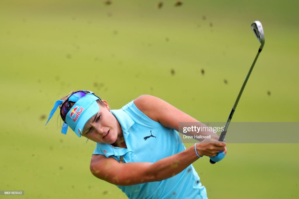 Lexi Thompson plays a shot on the 14th hole during the final round of the Walmart NW Arkansas Championship Presented by P&G at Pinnacle Country Club on June 24, 2018 in Rogers, Arkansas.