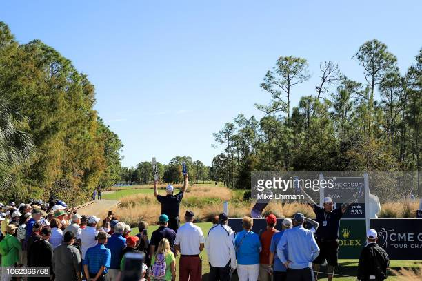 Lexi Thompson plays her shot from the first tee during the second round of the CME Group Tour Championship at Tiburon Golf Club on November 16 2018...