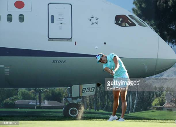 Lexi Thompson plays her tee shot on the 17th hole during the final round of the 2017 ANA Inspiration held on the Dinah Shore Tournament Course at the...