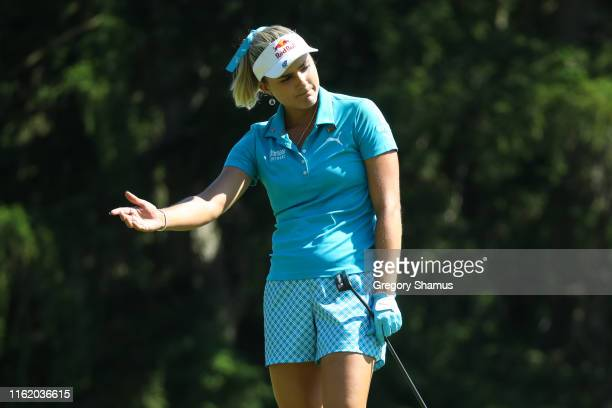 Lexi Thompson reacts to a missed birdie putt on the 15th hole during the final round of the Marathon Classic Presented By Dana at the Highland...