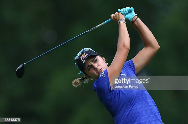 Lexi Thompson tees off on the 4th hole during the first round of the Safeway Classic on August 29 2013 at Columbia Edgewater Country Club in Portland...