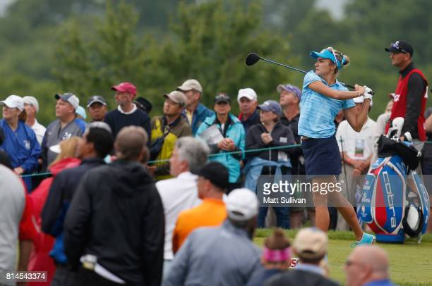 Lexi Thompson watches her tee shot on the first hole during the second round of the US Women's Open Championship at Trump National Golf Course on...