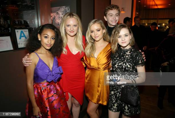 Lexi Underwood Elisabeth Moss Jade Pettyjohn Gavin Lewis and Megan Stott attend the Hulu LA Press Party 2019 at Spago on November 12 2019 in Beverly...