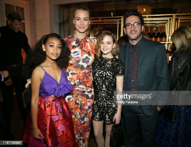 Lexi Underwood Yvonne Strahovski Megan Stott and Josh Schwartz attend the Hulu LA Press Party 2019 at Spago on November 12 2019 in Beverly Hills...