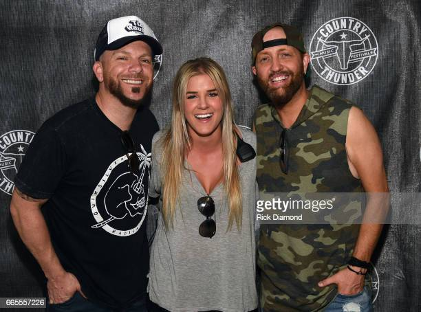 Lexia Chamryk Country Thunder Artists relations with Chris Lucas and Preston Burst of LoCash backstage during Day 1 Country Thunder Music Festival...