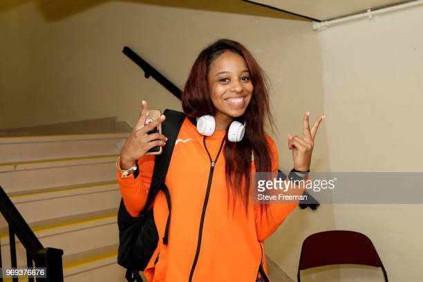 Lexie Brown of the Connecticut Sun arrives at the arena before the game against the New York Liberty on June 7 2018 at Westchester County Center in...