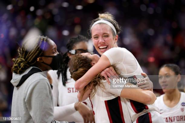 Lexie Hull of the Stanford Cardinals celebrates a team win against the Arizona Wildcats in the National Championship game of the 2021 NCAA Women's...