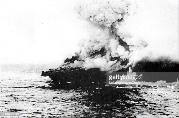 Lexington an American aircraft carrier was sunk 7th May 1942 by torpedoes and bombs from the Japanese Navy She first seemed to survive the bombing...