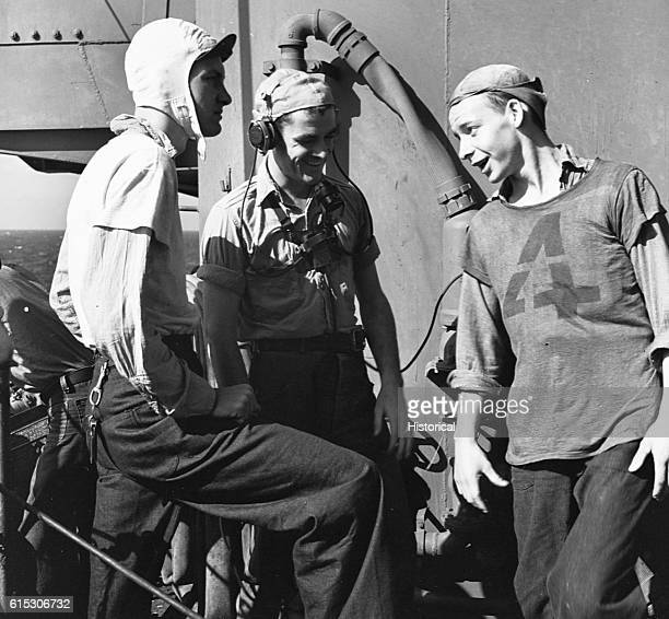 USS Lexington crewmen joking around during a break November 1943 | Location USS Lexington