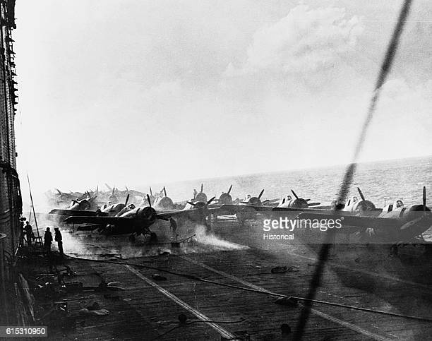 USS Lexington damaged in the Battle of the Coral Sea About 1500 [] Group all landed on board and deck spotted