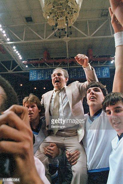 GeorgetownVillanova NCAA Championship Villanova coach Rollie Massimino is carried off court after his NCAA victory over Georgetown