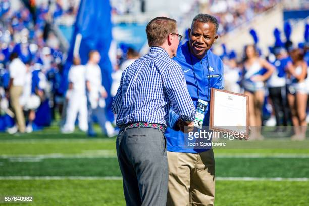 Lexington Mayor Jim Gray honors Nate Northington for Nate Northington Day before a regular season college football game between the Eastern Michigan...