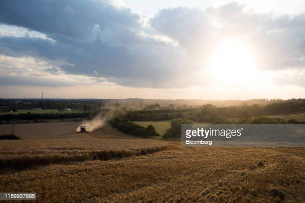 A Lexion combine harvester manufactured by Claas KGaA cuts through a field of wheat during a harvest in Rettendon UK on Friday Aug 2 2019 Uncertainty...