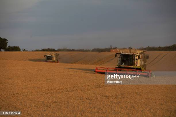 Lexion combine harvesters manufactured by Claas KGaA cut through a field of wheat during a harvest in Rettendon UK on Friday Aug 2 2019 Uncertainty...