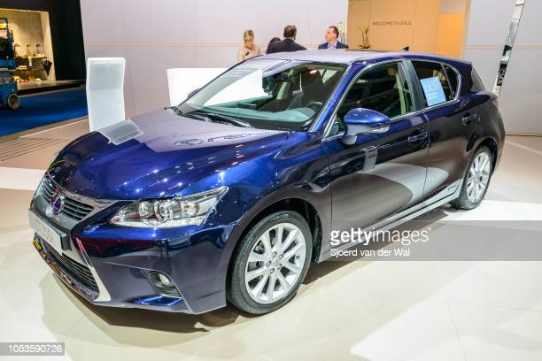 Lexus CT 200h hybrid luxury hatchback front view on display at Brussels Expo on January 13, 2017 in Brussels, Belgium. The IS 200h is fitted with a...