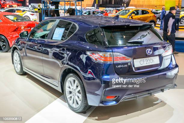 Lexus CT 200h hybrid luxury hatchback rear view on display at Brussels Expo on January 13, 2017 in Brussels, Belgium. The IS 200h is fitted with a...