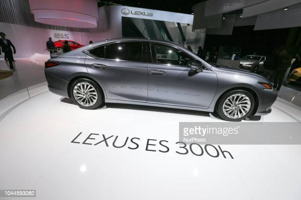 Lexus ES 300h car is seen during the first press day of the Paris Motor Show at Paris Expo Porte de Versailles on October 02 2018 in Paris France...