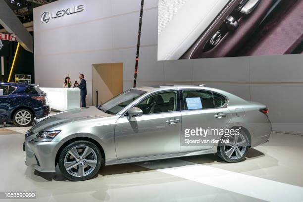 Lexus GS 300h hybrid luxury sedan on display at Brussels Expo on January 13, 2017 in Brussels, Belgium. The GS 300h is fitted with a 2.5-liter...