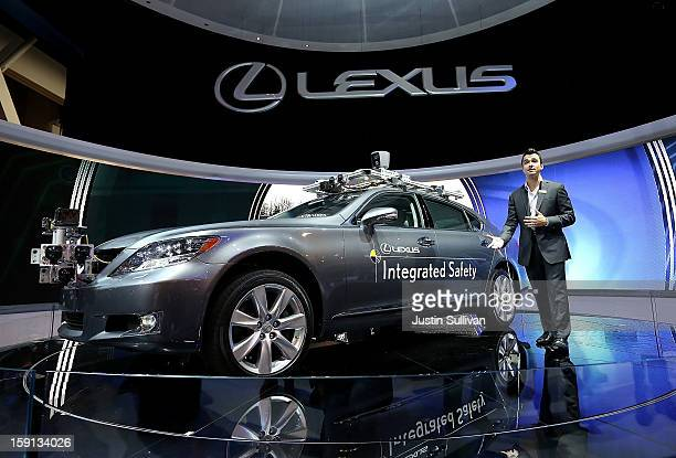 Lexus LS Integrated Safety selfdriving car is displayed at the Lexus booth during the 2013 International CES at the Las Vegas Convention Center on...