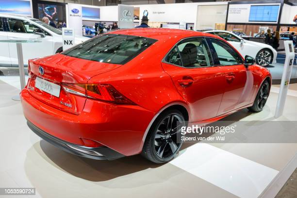 Lexus IS 300h hybrid luxury sedan on display at Brussels Expo on January 13, 2017 in Brussels, Belgium. The IS 300h is fitted with a 2.5-liter...