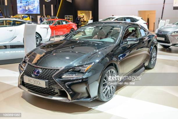 Lexus LC300h hybrid performance luury coupe car in bright white rear view on display at Brussels Expo on January 13, 2017 in Brussels, Belgium. The...