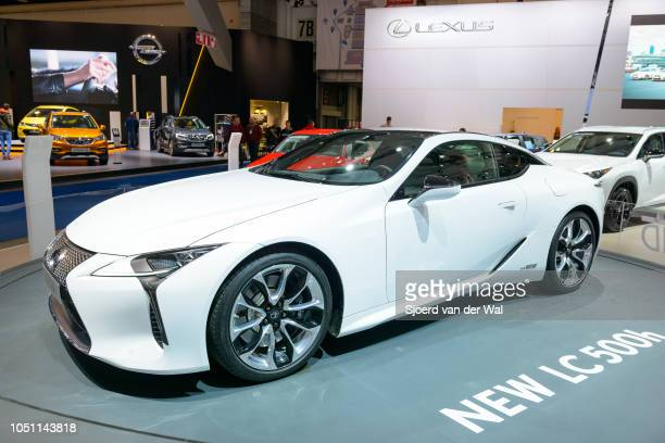 Lexus LC500h hybrid performance luury coupe car in bright white front view on display at Brussels Expo on January 13 2017 in Brussels Belgium The...
