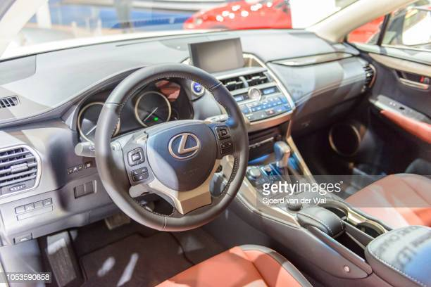 Lexus NX300h hybrid SUV three quarter front view on display at Brussels Expo on January 13, 2017 in Brussels, Belgium. The NX300h is fitted with a...