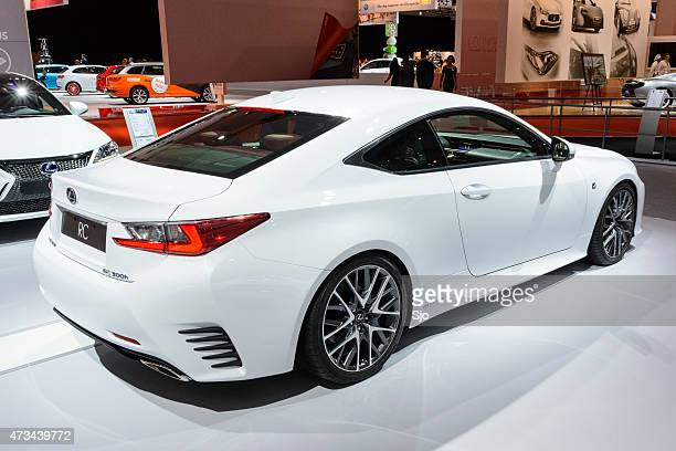 lexus rc f 300h hybrid coupe car rear view - rc car stock photos and pictures