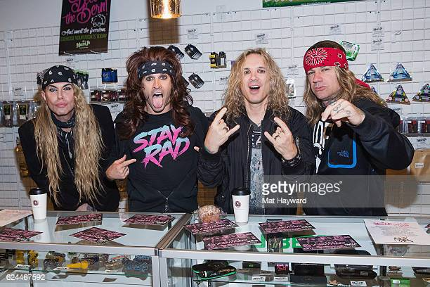 Lexxi Foxx Satchel Michael Starr and Stix Zadinia of Steel Pantherpose for a photo during a meet n greet at Mari J's Hwy Pot Shop before performing...