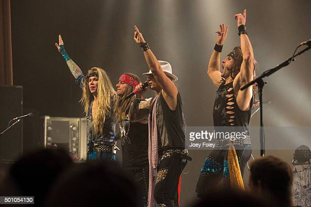 Lexxi FoxxStix Zadinia Michael Starr and Satche of Steel Panther perform live onstage at Egyptian Room at Old National Centre on December 11 2015 in...