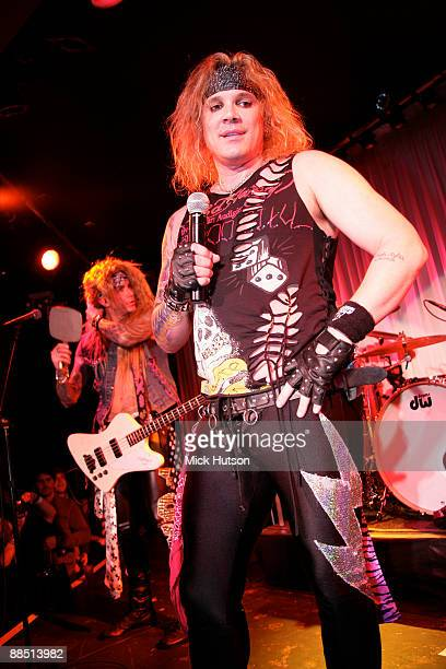 Lexxi Foxxx and Michael Starr of Steel Panther perform on stage at the Canal Room on April 1st 2009 in New York