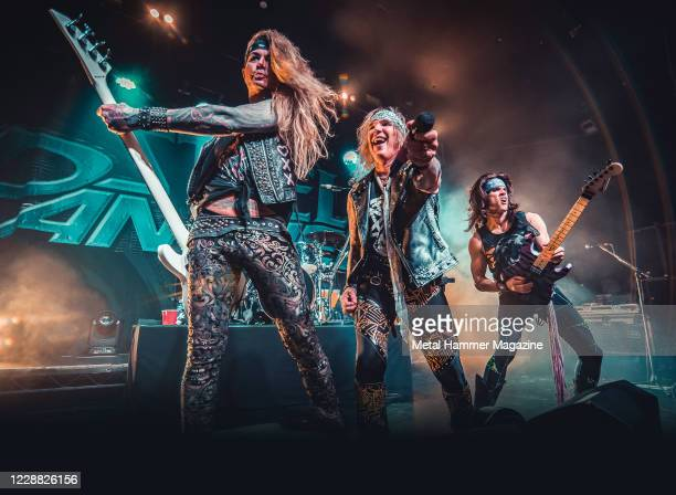 Lexxi Foxxx, Michael Starr and Satchel of glam metal group Steel Panther performing live on stage at the O2 Academy in Bristol, England, on February...