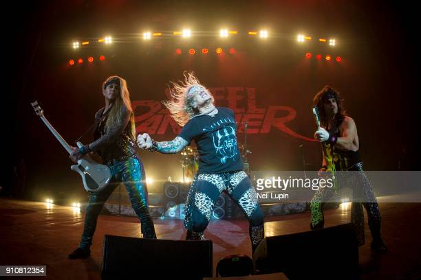 Lexxi Foxxx Michael Starr and Satchel of Steel Panther perform at Eventim Apollo Hammersmith on January 26 2018 in London England
