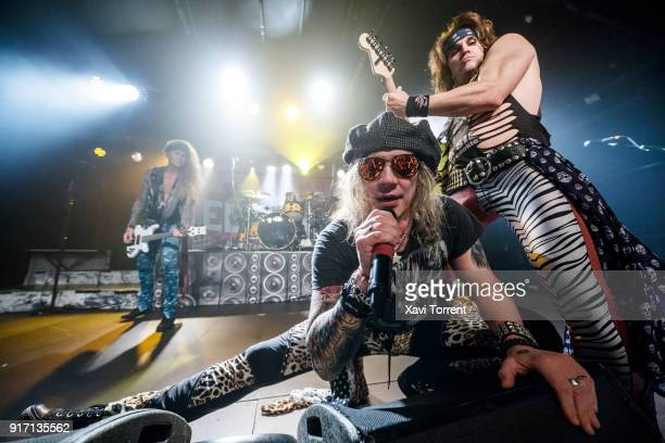 Lexxi Foxxx Michael Starr and Satchel of Steel Panther perform in concert at Razzmatazz during Route Resurrection on February 11 2018 in Barcelona...