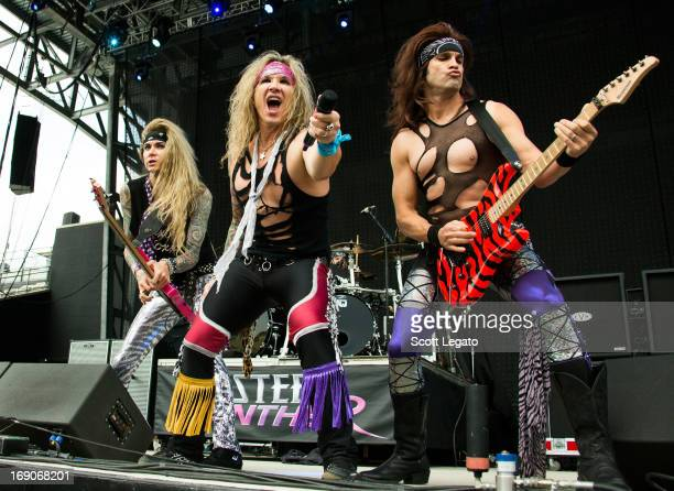 Lexxi Foxxx, Michael Starr and Satchel of Steel Panther performs during 2013 Rock On The Range at Columbus Crew Stadium on May 19, 2013 in Columbus,...