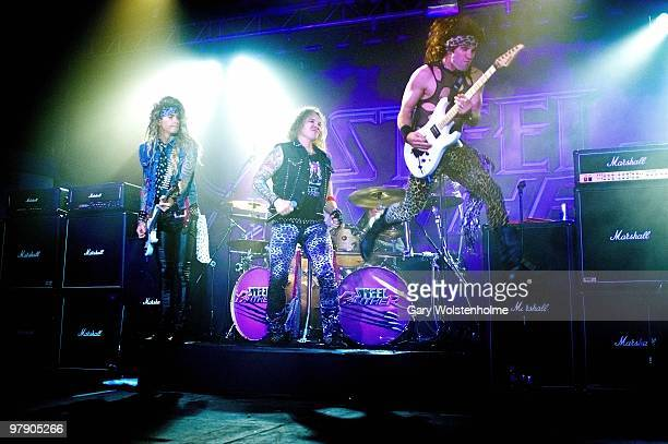 Lexxi Foxxx, Michael Starr and Satchel of Steel Panther performs at O2 Academy on March 20, 2010 in Sheffield, England.