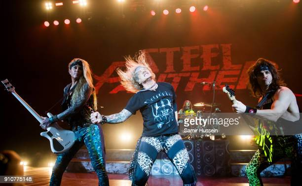 Lexxi Foxxx Michael Starr and Satchel of Steel Panther Steel Panther performs at Eventim Apollo Hammersmith on January 26 2018 in London England