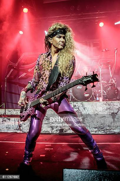 Lexxi Foxxx of American comedy rock/glam metal band Steel Panther performs live at Alcatraz in Milan Italy on September 28 2016