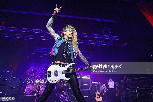 Lexxi Foxxx of Steel Panther performs at O2 Academy on March 20, 2010 in Sheffield, England.