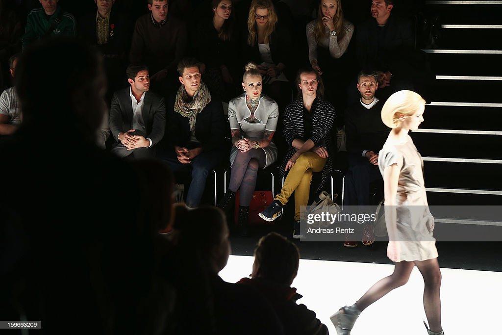 Lexy Hell (M) attends Anne Gorke Autumn/Winter 2013/14 fashion show during Mercedes-Benz Fashion Week Berlin at Brandenburg Gate on January 15, 2013 in Berlin, Germany.