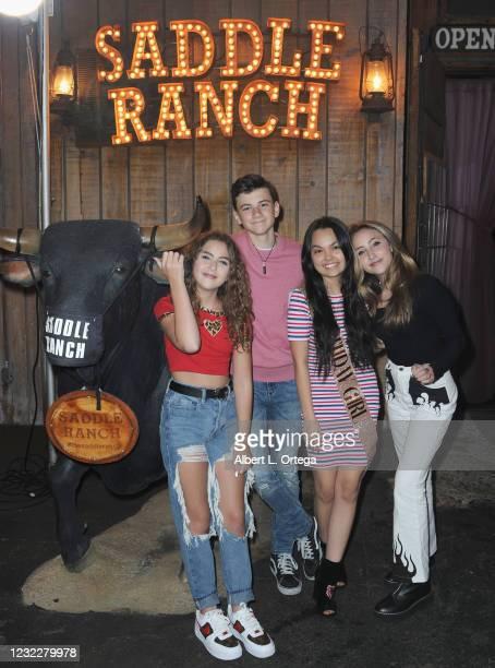 Lexy Koker, Alexander James Rodriguez, Chalet Lizette Brannan and Ava Kolker attend Brannan's Sweet 16 Birthday Party at Saddle Ranch Chop House on...