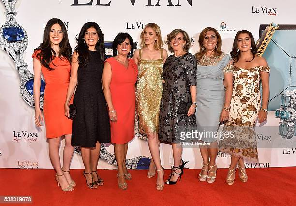 Lexy LeVian Miranda LeVian Suzy LeVian model/actress Bar Paly guest Elizabeth LeVian and Alexa LeVian attend the Le Vian 2017 Red Carpet Revue at the...