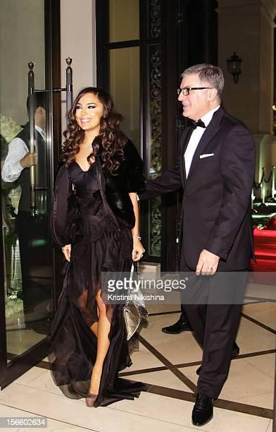 Leyla Aliyeva and Tarek Mourad arrive at the launch of the Four Seasons Hotel Baku on November 17 2012 in Baku Azerbaijan