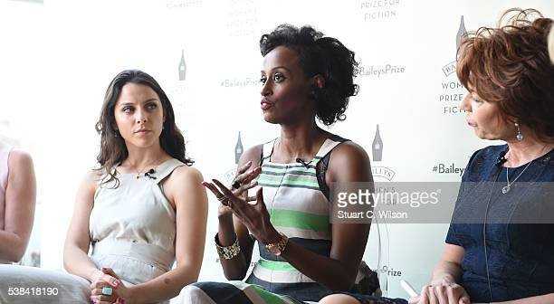 Leyla Hussein Hajar Woodland and Kathy Lette on stage at the Baileys Women's Prize for Fiction Book Club at rooftop restaurant Forest at Selfridges...