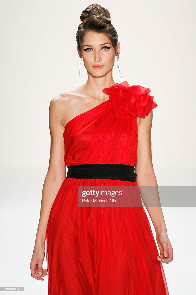 Leyla Mert walks the runway at Zoe Ona Autumn/Winter 2013/14 fashion show during Mercedes-Benz Fashion Week Berlin at Brandenburg Gate on January 18, 2013 in Berlin, Germany.
