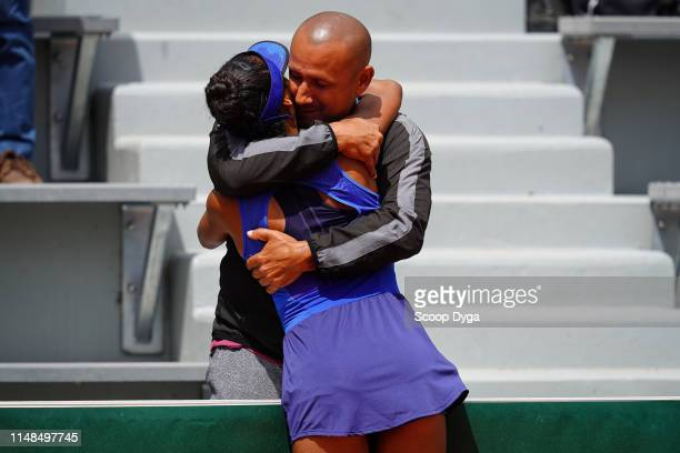 Leylah Annie Fernandez of Canada and her father Jorge Antonio Fernandez during the girls's single final of Roland Garros on June 8 2019 in Paris...