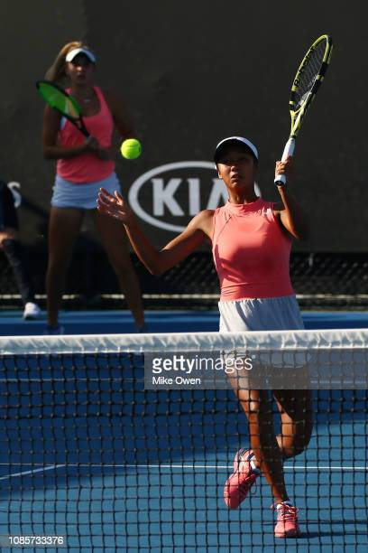 Leylah Annie Fernandez of Canada and Sasha Wood of the United States compete in their Junior's Doubles match against Marta Custic of Spain and Helene...